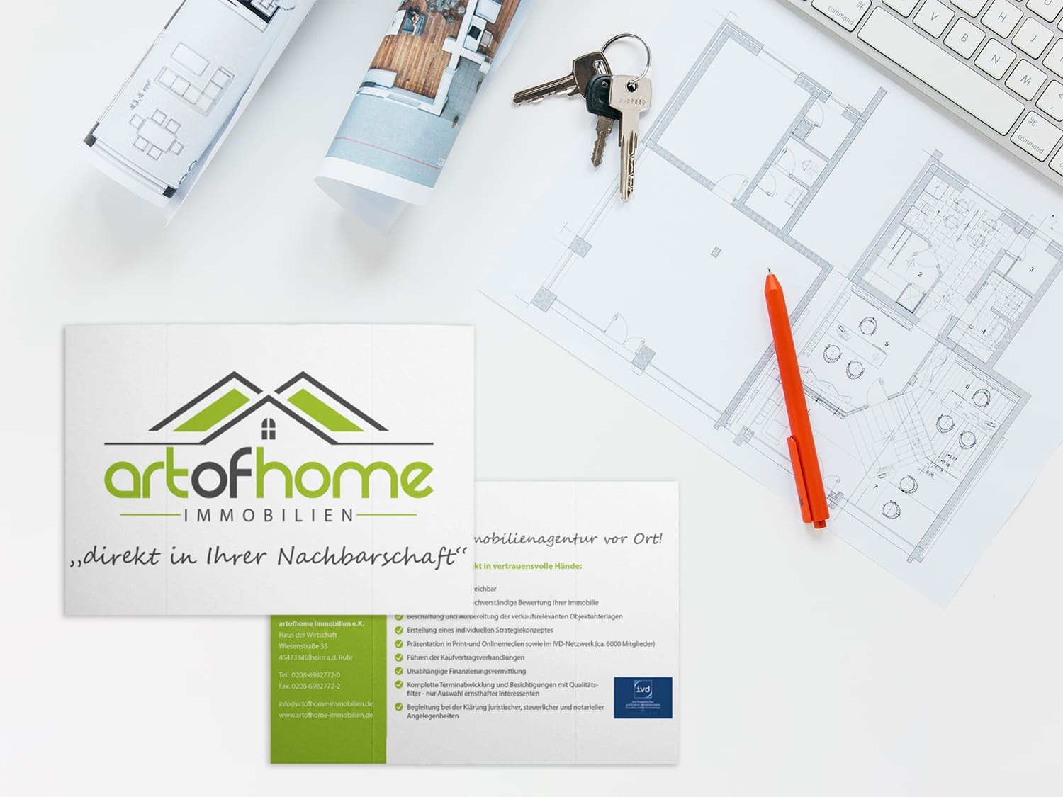 Flyer & Faltblatt Art of Home Immobilien Mülheim an der Ruhr